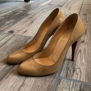 Christian Louboutin Patent Leather Beige Heels